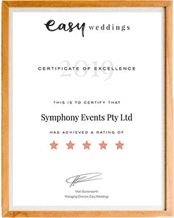 Easy Weddings: Certificate Of Excellence, 2019